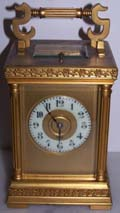 French Repeating Carriage Clock in Gilt Anglaise style Case