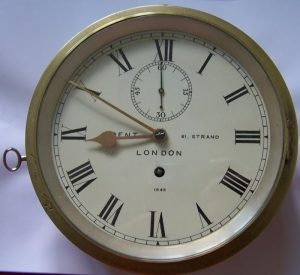 Ships Bulkhead Clock by F Dent, 61 Strand, London No.1545 c1857-60