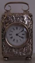Miniature Repousse Silver Carriage Clock WD