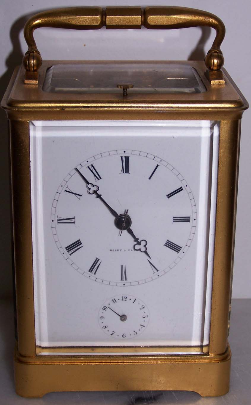 French Repeating Carriage Clock with Alarm in Gilt Case by Roset